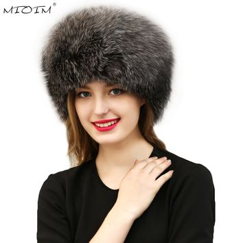 MIOIM Warm Faux Fur Women's Hat Crochet Beanies Caps Women Faux Fox Fur Pompom Ball Pendant Russian Style Windproof Ear Prot 3