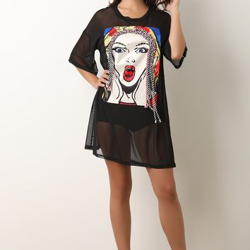 Pop Art Graphic Mesh T-Shirt Dress