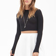 FOREVER 21 Ribbed Skater Skirt Cream