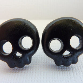 Black Skull Stud Earrings, Halloween Skull Earrings, Skeleton Earrings, Post Earrings, Polymer Clay Skull Cabochons, Nickel Free Posts