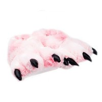 Pink Grizzly Bear Paw Slippers