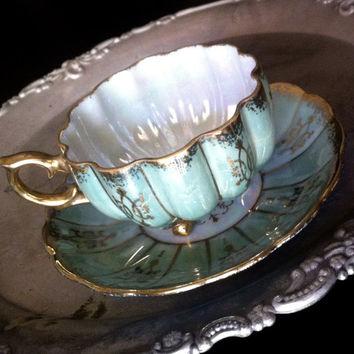 Antique Royal Sealy Blue Iridescent Lusterware Tea Cup Japanese Teacup and saucer tea set, fine bone china tea set