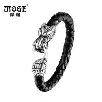 MOGE Fashion Men Jewelry Stainless Steel Genuine Leather Bracelets Men Vintage Dragon Head Lock Chain Bangles Male Bracelets