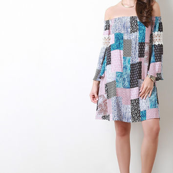 Off The Shoulder Patchwork Shift Dress