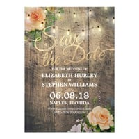 Rustic Wood Floral String Lights Save The Date Card