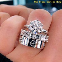 Cartier Hot Sale Women Men Delicate Diamond Ring Couple Ring Accessories Jewelry