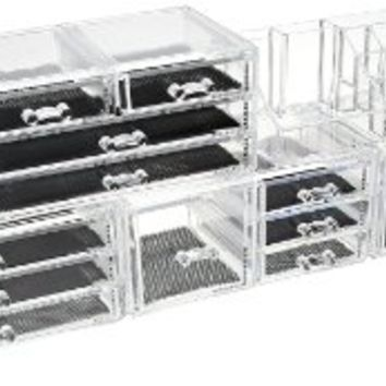 Unique Home Acrylic Jewelry & Cosmetic Storage Makeup Organizer, 5 Piece Set