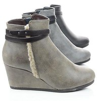 Gummy Black Pu By Classified, Wedge Zip Up Ankle Bootie