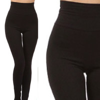 High Waisted Fleece Lined Leggings in Black