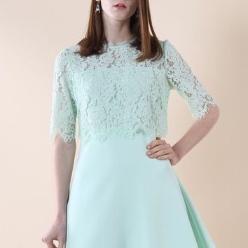 Fresh Mint Eyelash Lace Tiered Dress