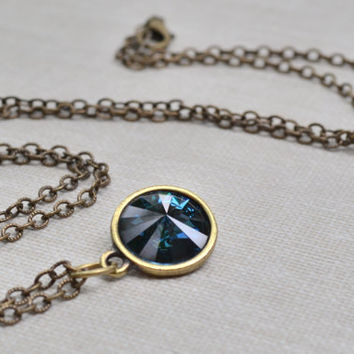 Montana Sapphire Rivoli Necklace Antique Brass Blue Sapphire Swarovski Crystal Necklace Boho Layering Necklace Bridesmaid Jewelry Gift