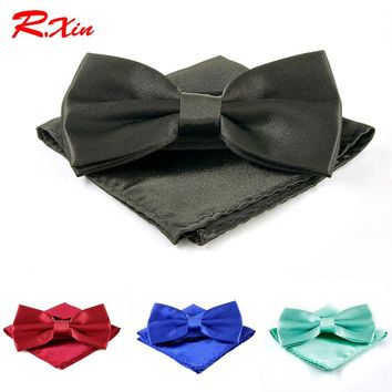 36 Color Fashion ties for men Bow Tie Pocket square set bowties butterfly cravat wedding party bow tie Handkerchief