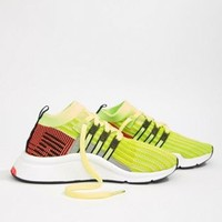 adidas Originals Eqt Support Mid Adv Trainers In Lime And Black at asos.com