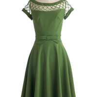 Tatyana Vintage Inspired Long Cap Sleeves A-line With Only a Wink Dress in Peridot