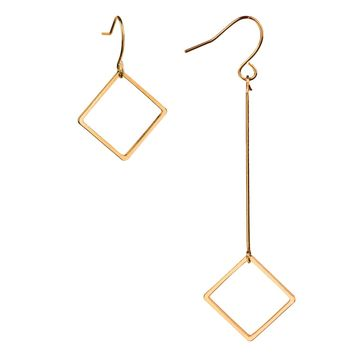 BodyJ4You Asymmetric Drop Earrings Goldtone Women Dangle Square Mismatched Ear Piercing Jewelry