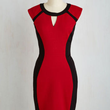 Mid-length Short Sleeves Sheath Black, Write, and Red All Over Dress
