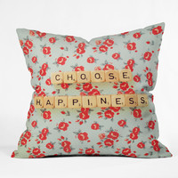 Happee Monkee Choose Happiness Throw Pillow