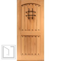 Rustic Exterior Single Door V-grooved Arch Panel, Speakeasy, Solid Wood