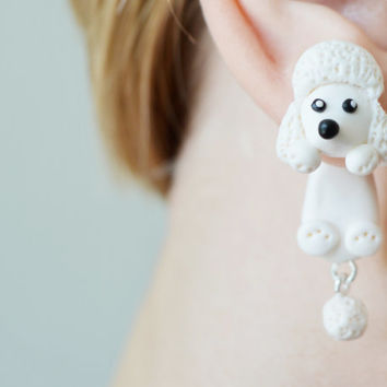 Dog earrings,white poodle pet stud post earring,animal ear jackets,puppy double sided earrings,pet front back cuff,cute two part dangling