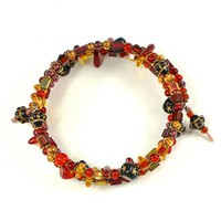 Handmade Memory Wire Bracelet Red Gold Black Japanese Czech Beads