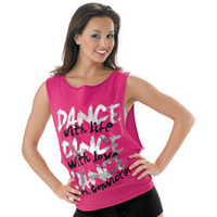 Sleeveless Dance Print Tie Back Tee; Urban Groove