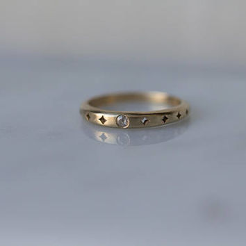 Moon and Stars stacking band in 14k gold with a Rose Cut Diamond / Wedding Band / Celestial Jewelry Anniversary Engagement ring boho bride