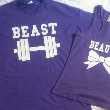 Free Shipping for US Beauty And The Beast Matching Couples Gym Tank Tops/Shirts: Purple and White Different Version