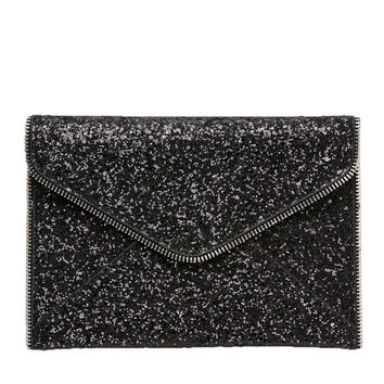 Kylie Glitter Envelope Clutch in Black