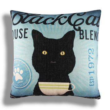 Retro Vintage Black Cat Pet Home Decorative Cotton Linen Pillow Case Cushion Cover 18'' 45CM