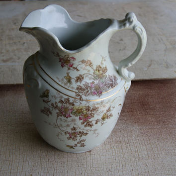 Vintage J And G Meakin White Pink Blue Semi-Porcelain Water Tea Milk Pitcher Tableware Dinner Polychrome Country Kitchen