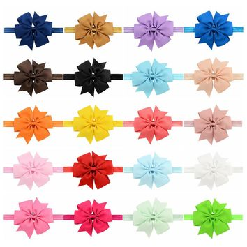 "20pcs/Lot 4.3"" Grosgrain Ribbon Hair Bow Headbands Accessories Hairband Flower Solid Color for Baby Girl Toddlers Kids Children"