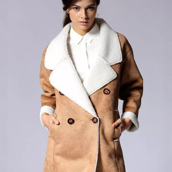 Suede Notched Collar Double-Breasted Coat