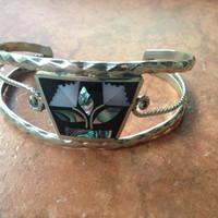 Vintage Alpaca Silver Cuff Bracelet Abalone and Mother of Pearl Inlay Mexic