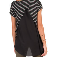 Sheer Back Striped High Low Top - Large