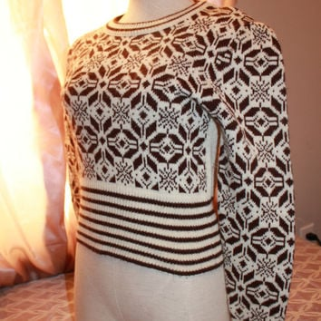 Bobbie Brooks small 70s vintage cropped short sweater holiday snow flake brown white LS