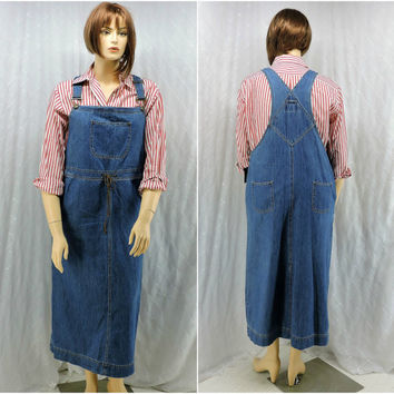 90s denim maxi jumper / skirt size XL Crazy Horse NWT boho hippie grunge bib overalls dress long jean skirt SunnyBohoVintage