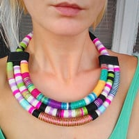 Statement Necklace, Tribal Necklace, Thread Wrapped Necklace, Multistrand African Necklace