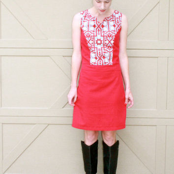 Red Go Go Dress, 1960's Style Day  Dress, Retro Women's sizes 0-26
