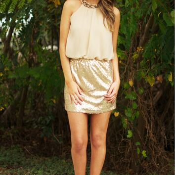Linked In Luxe Dress Gold
