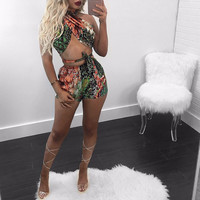 2017 Fashion Women Print Two Piece Outfits Crop Top and Short Pants Set Ladies Sexy Party Club Wear Summer Beach Clothing