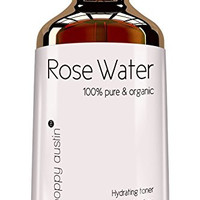 Poppy Austin 100% Pure Rose Water Facial Toner. Made by Hand and Responsibly Sourced. Finest Triple Purified Organic Rosewater. Voted one of Morocco's Best Skin Care Products in 2015, 4 fl. oz.