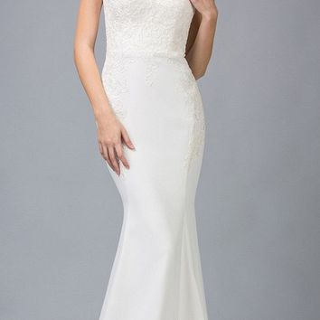 Lace Cap Sleeved Mermaid Wedding Gown Ivory/Champagne