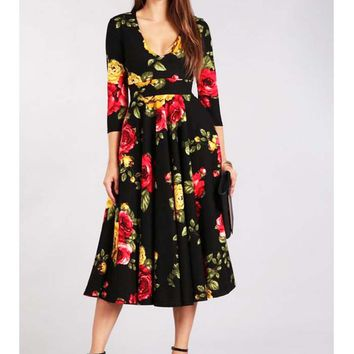 Vintage Inspired Rose Print Black Full Skirt Dress