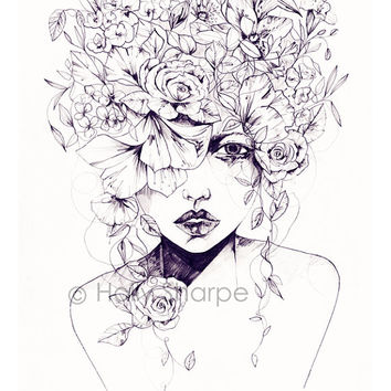 Flower Fro // Limited Edition giclée print from an original pencil drawing
