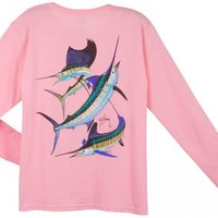 Guy Harvey Grand Slam Long Sleeve Ladies Back-Print T-Shirt