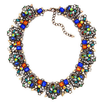 Multi Color Vintage Floral Rhinestone Collar Necklace