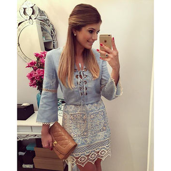 Lace V-neck Denim 3/4 Sleeves Short Dress