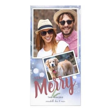 Snowflake Bright Light on Blue | Photo Card