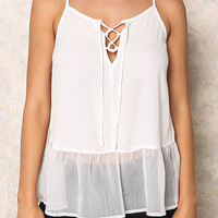 Off White Lace Up Gauze Ruffle Tank Top