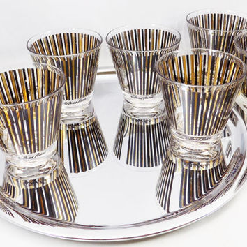 Fred Press Cocktail Glasses, Set of 7 Low Ball Glasses in Black and Gold Vertical Stripe, Vintage Barware Glasses, Tray Not Included